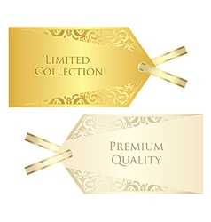 Luxury cream and golden price tag with vintage vector