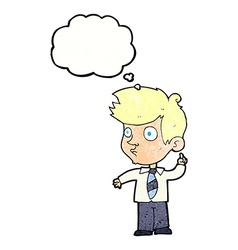 Cartoon boy asking question with thought bubble vector