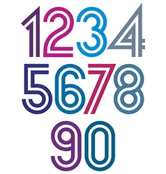 Bright cartoon double striped numbers with rounded vector