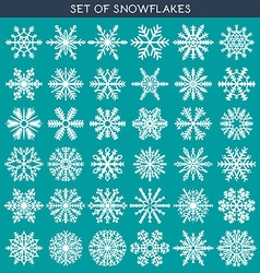 Set 36 white different snowflakes of handmade for vector