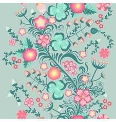 Spring floral seamless pattern in soft pastel vector image