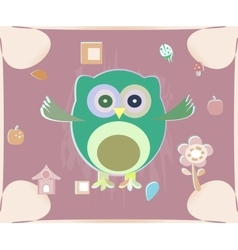 Cute owl card baby girl arrival announcement card vector