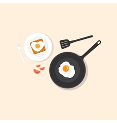 Fried eggs on pan vector