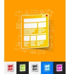Interface paper sticker with hand drawn elements vector