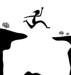 Jump over abyss - jumping man or woman silhouette vector