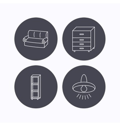 Sofa ceiling lamp and shelving icons vector