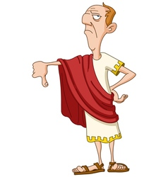 Roman emperor with thumb down vector