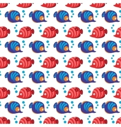 Seamless pattern with tropical fishes and bubbles vector