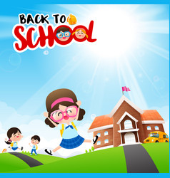 Back to school concept student kids cartoon vector
