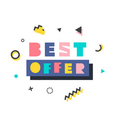 best offer modern banner template in memphis style vector image