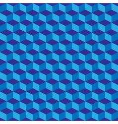 Blue geometric seamless cubes pattern background vector image