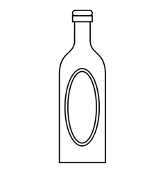 Bottle wine cap blank label outline vector