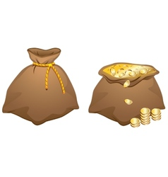 Brown bag full of gold coins vector