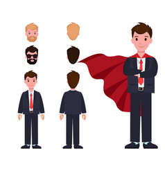 Businessman in suit and red cloak constructor vector