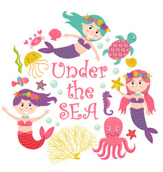 Card with mermaid under the sea vector