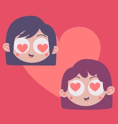 Couple Heads Inside Heart vector image