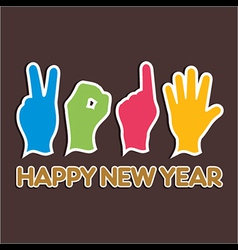 Creative happy new year 2015 design with finger vector