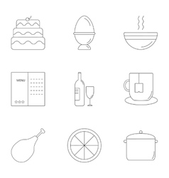 Delicious food icons set outline style vector