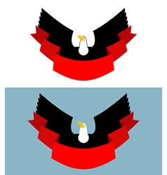 Eagle and red ribbon Bird of prey for symbol vector image vector image