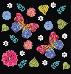 embroidery seamless pattern with beautiful vector image vector image