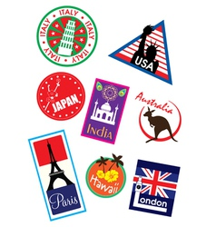 Europe sticker and stamp collection vector