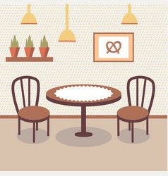 flat bakery store interior with table covered with vector image
