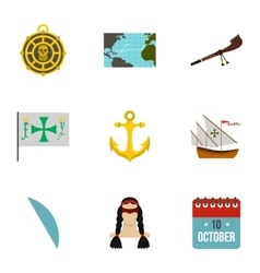 Geography icons set flat style vector
