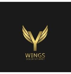 Golden y letter logo vector