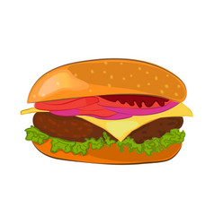 hamburger cartoon style vector image