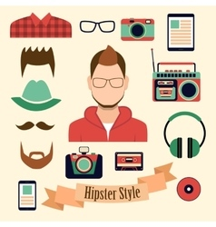 Hipster style with a hipster elements and icons vector image vector image