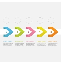 Infographic five step ribbon arrow dashed circle vector