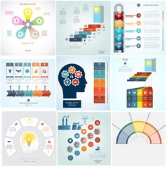Infographics 9 templates five positions vector image vector image