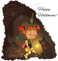 Little Halloween witch learning to fly on a broom vector image
