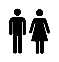 Men and women silhouette black simple icons on vector image