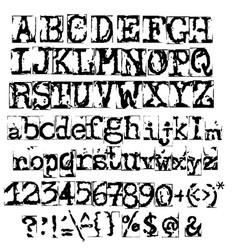 old typewriter font vintage grunge letters vector image