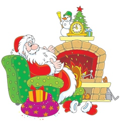 Santa Claus by a fireplace vector image vector image