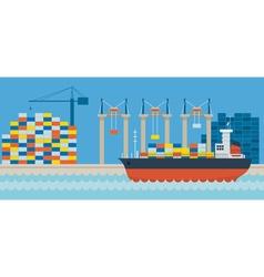 Ship port cargo shipping vector