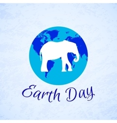 Silhouette of an elephant over planet earth earth vector