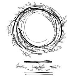 Sketch style nest made of floral branches vector