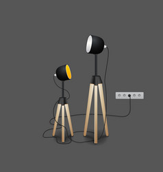 Stylish loft office lamp lights realistic mockup vector