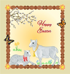 Two lambs and daffodil easter background vector