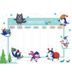 Weekly planner with winter penguins cartoon design vector