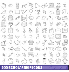100 scholarship icons set outline style vector