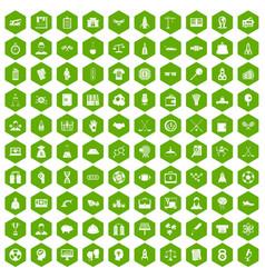 100 success icons hexagon green vector