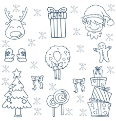 Christmas doodles set vector