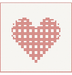 Seamless Knitted pattern with red heart vector image