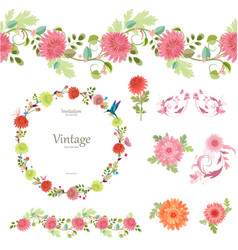 Spring floral collection with chrysanthemum vector