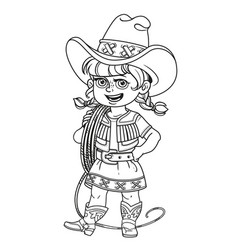 Cute girl in a cowboy suit is holding a lasso on vector