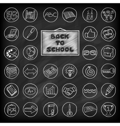 Hand drawn school buttons set vector