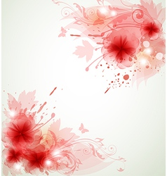 Abstract floral background with red flowers vector